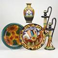 Zuidholland goudafive pieces ali vase 1922 and pair of candlesticks 1930 low bowl 1929 reiger charger 1930 gouda netherlandsall markedtallest 17