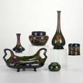 Zuidholland goudasix pieces bottleshaped vase with portrait 1905 ponseav bud vase 1920 doublehandled bowl with irises c1908 bowl with tulips 1918 cup with tulips 1920 and squat bow