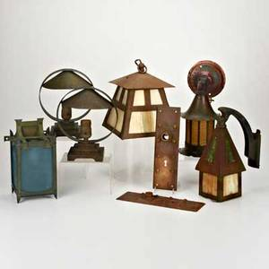 Arts  crafts lightingeight pieces pair of desk lamps two sconces and hanging lantern together with pair of door plates c1900copper brass iron slag glassunmarkedhanging lantern 8 12 x 7 14