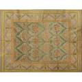 Style of william morriscontemporary roomsize rug in green mustard and purple floral pattern on french blue fieldunsigned8 9 x 11 9