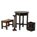 Arts and craftsfour pieces lamp table ashtray footstool and waste basketlamp table 29 x 24 dia