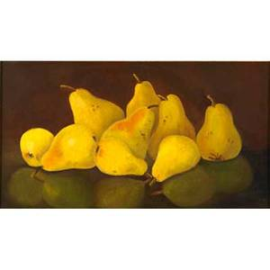 Leon riche american 20th c oil on canvas still life with pears framed signed 10 x 18