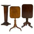 American furniture two tilttop tables dropleaf end table and pedestal in mixed woods 19th20th c pedestal 37 x 14 sq