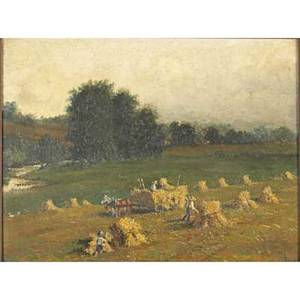 Early 20th c american landscape oil on panel of a haying scene 1900 framed monogrammed and dated 9 14 x 12
