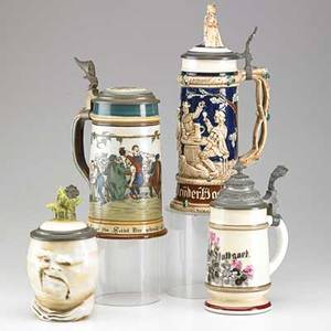 German steins four late 19thearly 20th c mettlach 2028 with tavern scene muster schutz sad radish one with lithophane bottom and one with painted tavern scene and figural top some marked ta