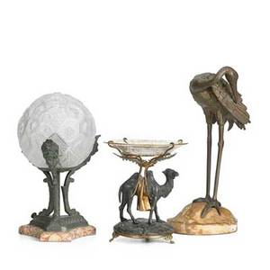 Continental decorative items three items early 20th c french deco globe lamp on marble and metal base camel compote with enameled glass top and bronze egret on marble base tallest 12 78