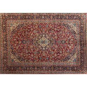 Persian kashan oriental rug red center medallion all over floral design 20th c 111 x 151