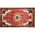 Caucasian oriental rug red central medallion all over geometric design 20th c 109 x 61