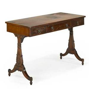 Regency sofa table mahogany leather top and three drawers 19th c 29 x 43 x 20