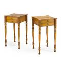 Pair of custom sheraton night tables curly maple two drawers on turned legs 20th c 30 x 17 12 x 17 12