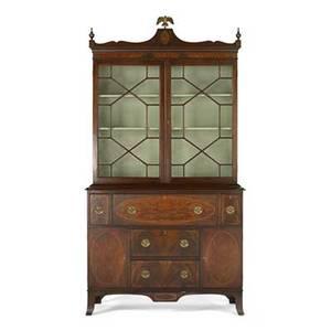 Federal style secretary bookcase mahogany oval inlay mullioned glass doors 20th c 90 x 48 x 19