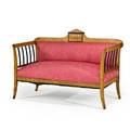 Biedermeier settee fruitwood inlaid frame upholstered seat and back mid 19th c 38 x 55 x 25