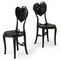 Pair of art nouveau side chairs carved leaf design black lacquer finish ca 1900 36 x 17 x 18