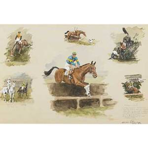 Denis aldridge british 18981985 watercolor on tan paper aintree 1911 framed signed and dated 13 14 x 19 34