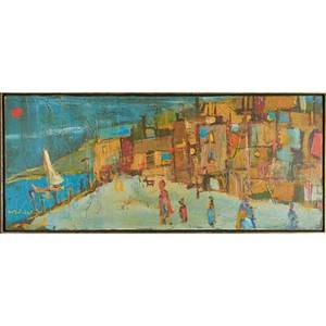 Alvin c hollingsworth american 19282000 oil on canvas abstract with figures in a landscape framed signed 20 x 48