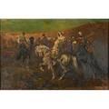 Benjamin roubaud french 18111847 oil on canvas of arabian horsemen framed signed 20 x 30