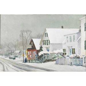 Frank milby american 20th c oil on canvas of provincetown street in the snow framed signed 20 x 30