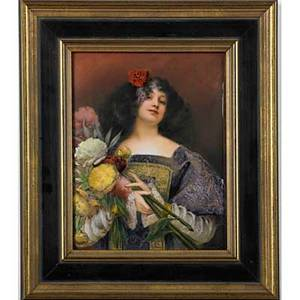 French enamel on copper plaque flora 19th20th c framed signed t leroux titled on verso 7 34 x 6 sight