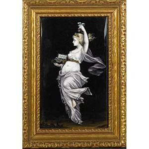 French enamel on copper plaque female spirit above a city with a box of jewels 19th20th c framed signed ts 6 14 x 4 sight