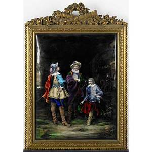 French enamel on copper plaques two depicting musketeers 19th20th c framed both signed ts larger 10 34 x 8 14 sight