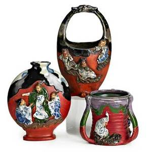 Sumida gawa pottery three items early 20th c basket pillow vase and threehandled mug all marked tallest 10 14
