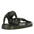 Bronze sculpture roman warrior with verdigris patina 19th20th c 7 x 13 x 6