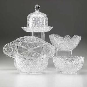 American cut glass five items early 20th c covered cheese dome relish bowl and three bowls largest 14 x 8