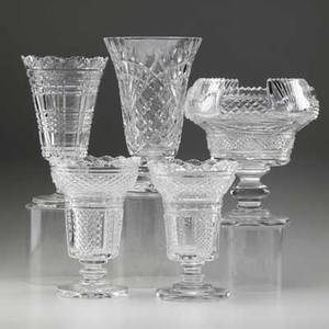 Waterford crystal five vases one pair and three individual 20th c three signed tallest 10