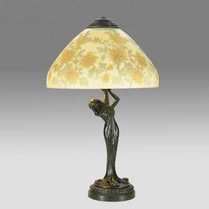 Reverse painted table lamp shade with floral displays on art nouveau figural base 20th c 24 12