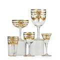 Continental enameled gold stemware thirtysix items with ribbon and floral decoration 20th c eight long stemmed wines and seven each of sherberts juice glasses liqueurs and short stemmed wines