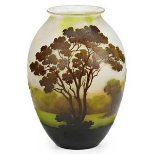 Galle cameo glass vase with lake scene early 20th c signed 10 34 x 7
