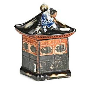 Sumida gawa pottery covered houseshaped tea box with female figure at top on black ground early 20th c unidentified mark 6