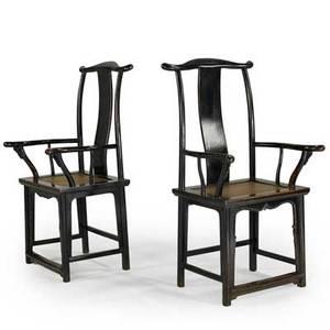 Pair of chinese yoke back armchairs hardwood frames cane seats 19th c 49 x 24 12 x 22 12