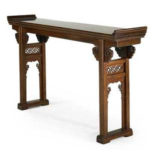 Chinese altar table hardwood with carved decoration 19th20th c 37 12 x 65 x 13