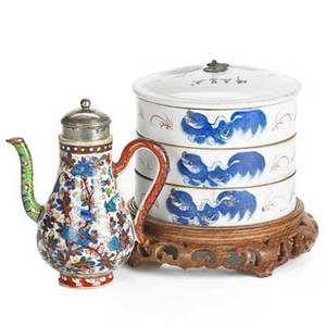 19th c chinese porcelain threetiered lidded round box on wood base and miniature teapot with silverplated lid box 4 34