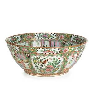 Chinese export porcelain punch bowl famille rose decoration late 19th c 6 x 14 12 dia