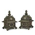 Pair of asian temple koros dragon motifs mounted with hardstone and jade oval medallions late 19thearly 20th c 32 x 20 34 x 18