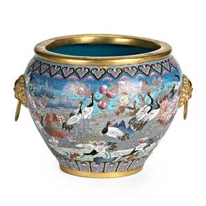 Chinese cloisonne porcelain planter bird and floral motif with brass ring handles 20th c 10 14 x 13 12
