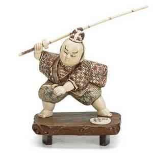 Japanese carved ivory okimono samurai on wood base 20th c signed 5 12 x 3 x 4 with base