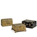 Continental jewelry boxes three late 19th c dometop brass gilt metal with jewels on wood and brass with enameled decoration all lined largest 4 12 x 9 x 6 14