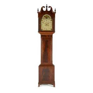 English grandfather clock mahogany case painted dial eight day time and strike movement with moon phase 19th c 92 x 19 x 10