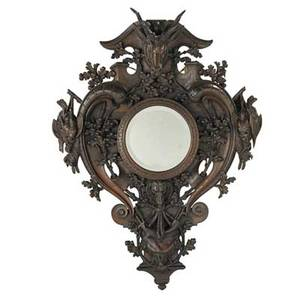 German black forest carved mirror walnut carved with deer and dog heads game and floral motifs with mirrored center 19th20th c 54 12 x 41 x 9