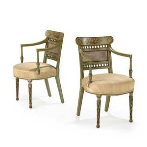 Pair of regency open armchairs paint decorated frames upholstered seats caned backs 19th c 33 x 20 x 21