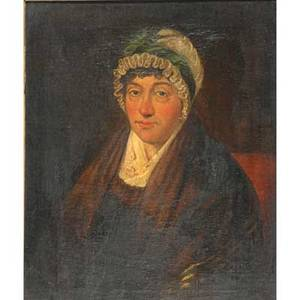 19th c primitive portrait oil on canvas on masonite of a woman in a cap framed 26 x 22