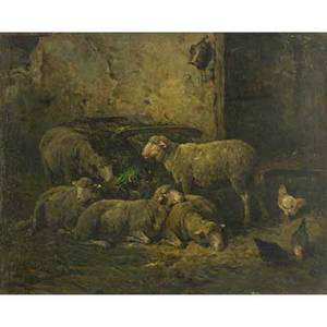 Franck brissot french late 19th c oil on board of sheep and chickens in a manger framed signed 11 x 13 34