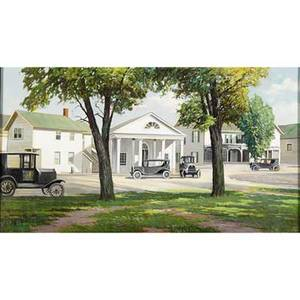Harry d froot american 20th c oil on canvas of a village green with antique automobiles framed signed 20 x 36