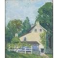 George lear american 18791956 oil on board house on swamp road doylestown pa 1922 framed signed titled and dated 12 x 10