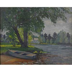 Constance cochrane american 18881962 oil on board of a rowboat on a lake framed signed 15 x 20
