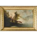 James m hart american 18281901 attr oil on canvas of a misty morning scene on an adirondack lake period frame no visible signature but very similar to known painting by hart of the same s