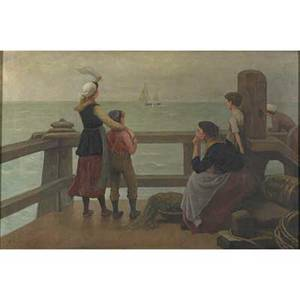 Early 20th c american genre scene oil on canvas of women and children standing dockside 1912 framed signed f tinck and dated 18 x 27
